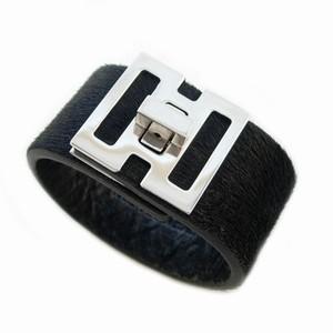 Læder armbånd - sort skind