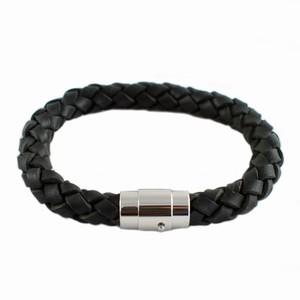 Herre læderarmbånd med stål – bred – pris 250.00