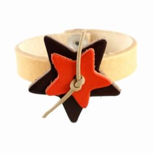 Læder armbånd med stjerner