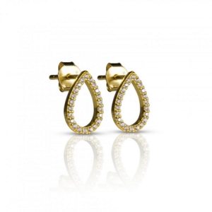Forgyldte øreringe med klare krystaller – pris 229.00