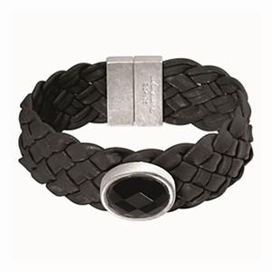 Læderarmbånd med sort agat