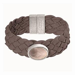 Læderarmbånd med grå agat