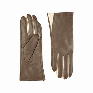 Skind handsker – brun/creme – pris 369.00