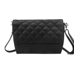 Læder taske med quilt – sort – pris 600.00