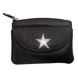 Lille sort læder pung med stjerne – pris 150.00