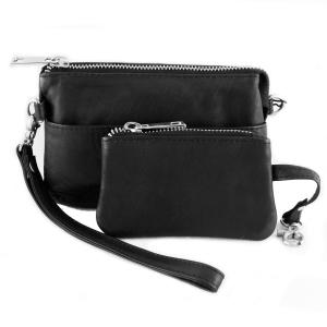 Lille taske med pung – sort skind – pris 499.00