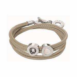 Lys læder armbånd med sølv led