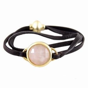 Brun læder armbånd med rosa kvarts