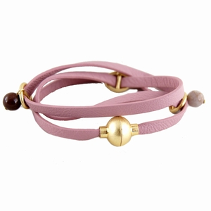 Læder armbånd med magnetlås - rosa