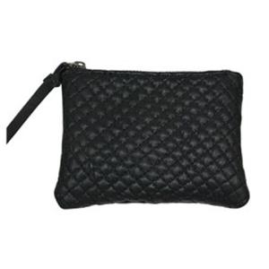 Lille quiltet læder pung – sort – pris 200.00