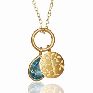 Live Love Life halskæde – blå topas – pris 1690.00