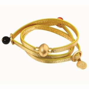Guld læderarmbånd til at sno