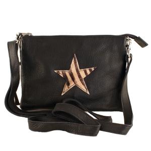 Sort læder taske med stjerne – pris 299.00