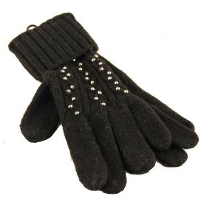 Finger vanter i sort strik – med sten – pris 150.00