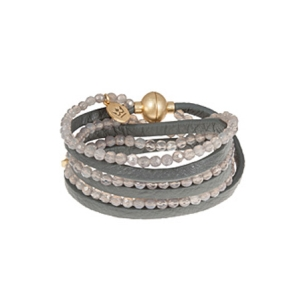 Armbånd med læder og grå agat – pris 579.00
