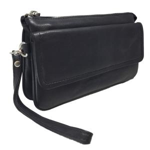 Sort læder taske - clutch
