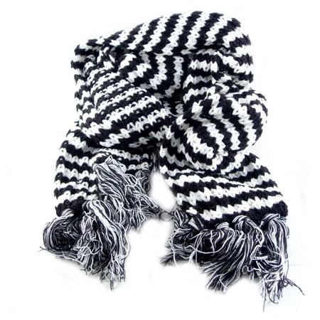 5b004dbe64d Tykt halstørklæde - sort/hvidt