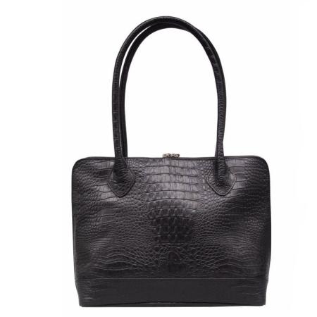 5be6b170926 Sort læder taske i kroko præg fra Tim & Simonsen - dametaske